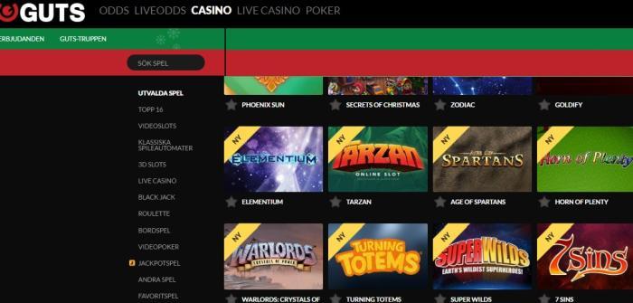 Skärmdump på Guts Casino