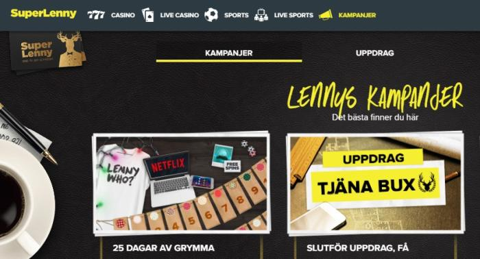 SuperLenny kampanjer med free spins